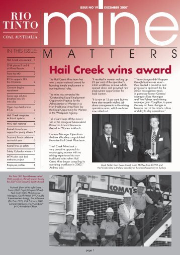 Hail Creek wins award - Rio Tinto Coal Australia