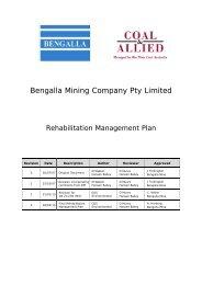 Bengalla Rehabilitation Management Plan - Rio Tinto Coal Australia