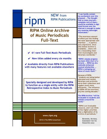 RIPM Online Archive of Music Periodicals Full-Text
