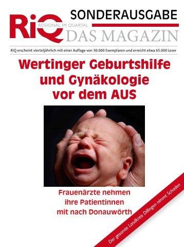 SONDERAUSGABE Wertinger Geburtshilfe und Gynäkologie vor ...