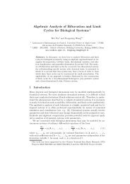 Algebraic Analysis of Bifurcation and Limit Cycles for Biological ...