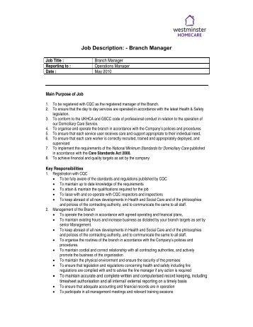 Job Description:   Branch Manager