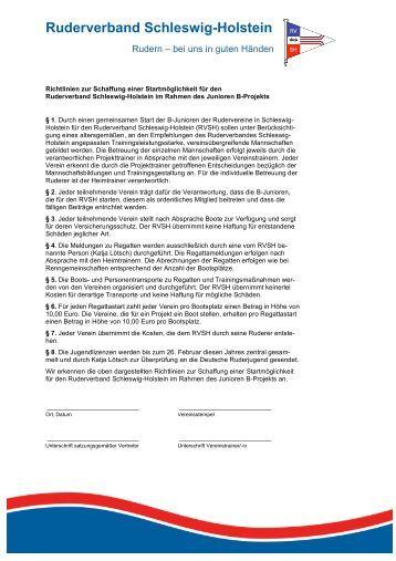 muster richtlinien junioren b und aufnahmeantrag rudern in schleswig - Mitgliedsantrag Verein Muster