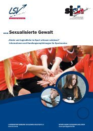 Broschüre der Sportjugend Schleswig-Holstein »Sexualisierte Gewalt