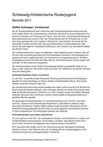Berichte des Vorstands 2011 - Rudern in Schleswig-Holstein