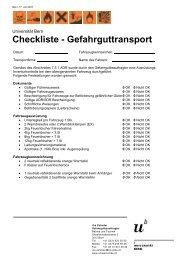 Checkliste Gefahrguttransport (pdf, 54KB) - Universität Bern