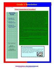 Grade 1 Newsletter What's happening in November?