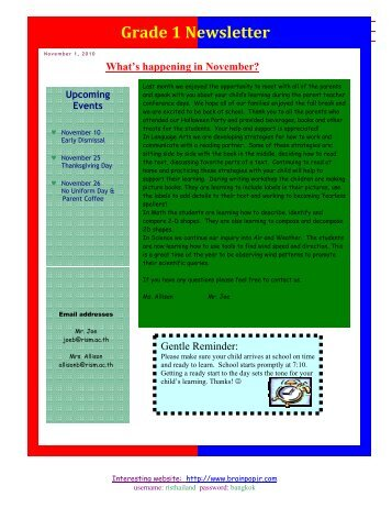 Grade 1 Newsletter What's happening in November?