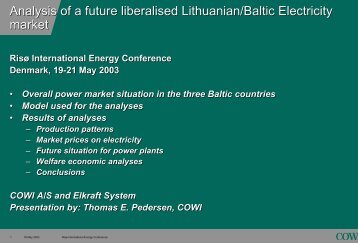 Competition in the Baltic Electricity markets