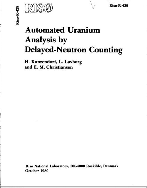 Automated Uranium Analysis by Delayed-Neutron Counting