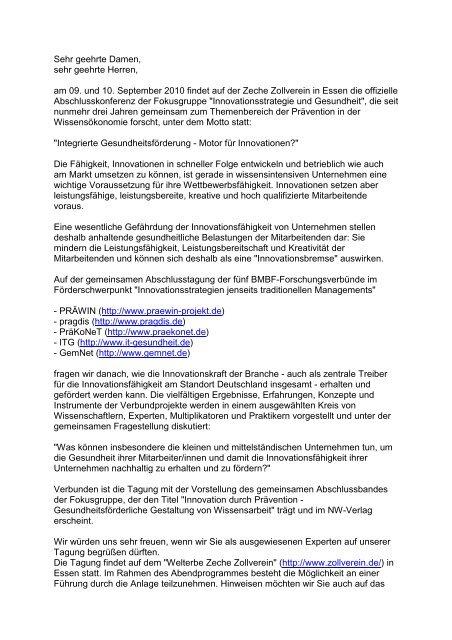 Einladung Abschlusskonferenz der Fokusgruppe ...