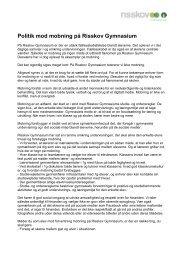 kan du læse Risskov Gymnasiums politik mod mobning