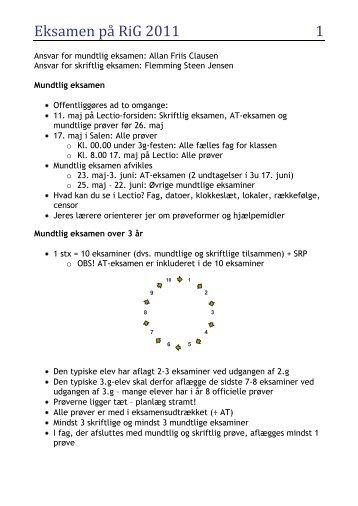 Ansvar for mundtlig eksamen: Allan Friis Clausen