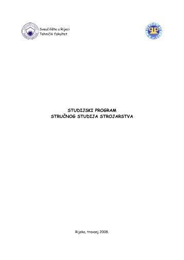 Studijski program stručnog studija strojarstva - Tehnički fakultet u ...