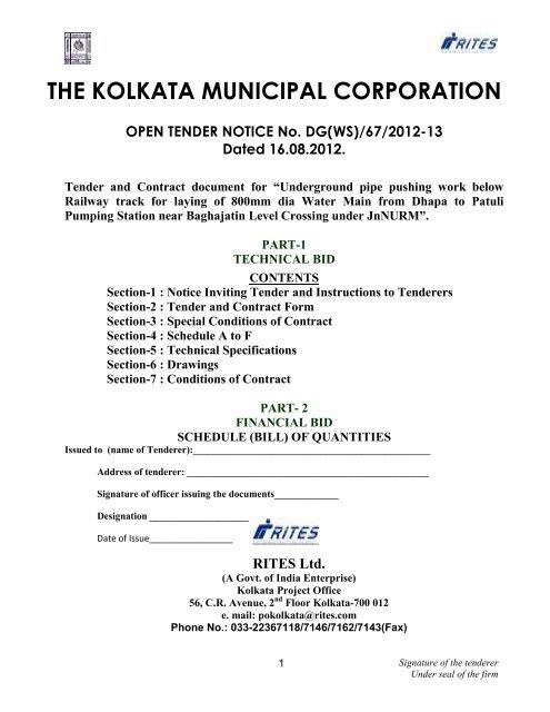 THE KOLKATA MUNICIPAL CORPORATION - Tenders India