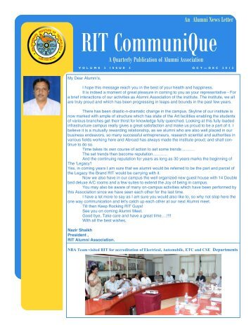 An Alumni News Letter - Volume 2 Issue 3 - Oct-Dec 2012