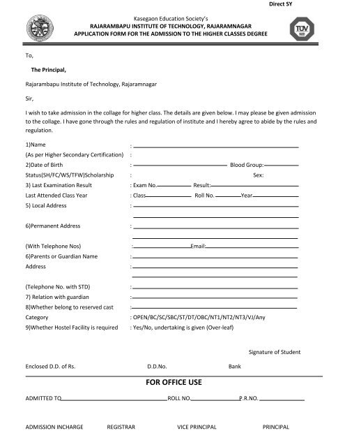 to download Admission form for SY B  Tech  - Rajarambapu Institute