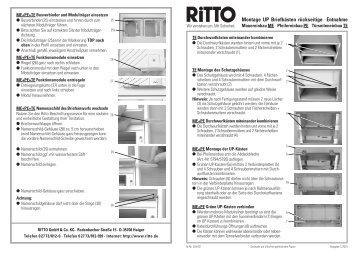 Montageanweisung UP-Briefkästen Rückentnahme - Ritto