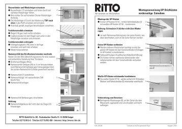 Montageanweisung UP-Briefkästen Frontentnahme - Ritto