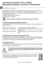 Türfreisprechverstärker (TFV) 1 5680/01 Beschreibung ... - Ritto