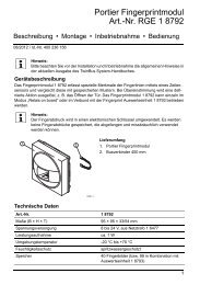 Portier Fingerprintmodul Art.-Nr. RGE 1 8792 - Ritto