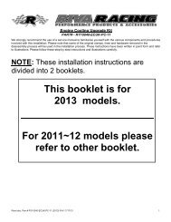 This booklet is for 2013 models. For 2011~12 models ... - RIVA Racing