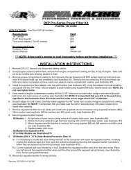 INSTALLATION INSTRUCTIONS - RIVA Racing