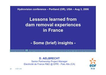 Lessons learned from dam removal experiences in ... - RiverNet