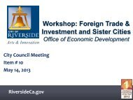 Workshop: Foreign Trade Office of Economic ... - City of Riverside
