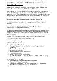 Anhang zum Praktikantenvertrag Fachoberschule ... - BBZ-Ulderup