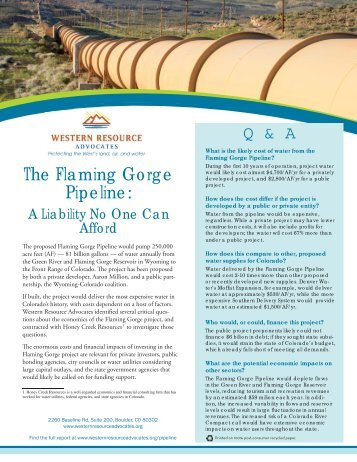 Costs of Flaming Gorge Pipeline.indd - Western Resource Advocates