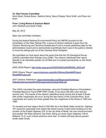 Site Futures Committee Norm Boyd, Krissie Braun, Sabrina Henry ...