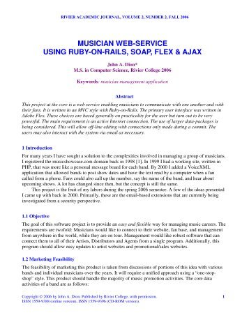 musician web-service using ruby-on-rails, soap ... - Rivier University