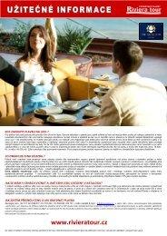 Užitečné informace - Riviera Tour