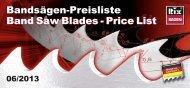 Bandsägen-Preisliste Band Saw Blades - Price List - RIX