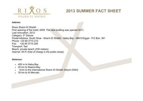 2013 summer fact sheet - Rixos Hotel