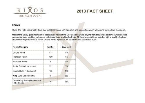 2013 fact sheet - Rixos Hotel