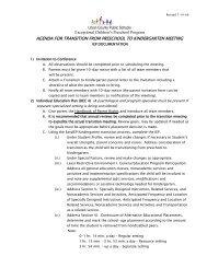 Transition from Preschool to Kindergarten IEP Meeting Agenda