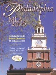 2006 Convention Invitation to Exhibit - Modern Language Association