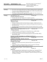 Acquisition Management resume - RJW Consulting