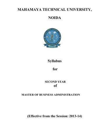 MBA Syllabus III & IV Semester 2013-14