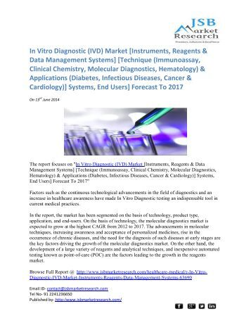 Jsb Market Research: Global and Usa Cancer Biomarker Market to 2018