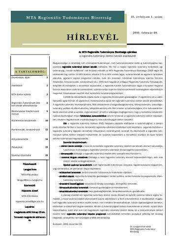 II. évfolyam 1. szám - MTA Regionális Kutatások Központja