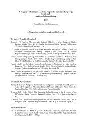 A Magyar Tudományos Akadémia Regionális Kutatások Központja ...