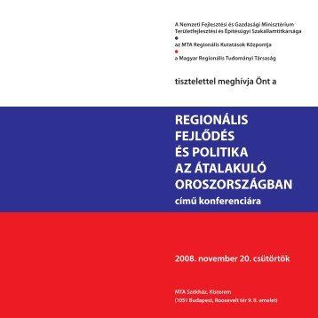 regionális fejlődés és politika az átalakuló oroszországban