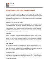 Konventionen für RKW Internet-Foren - RKW Kompetenzzentrum