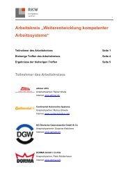 """Arbeitskreis """"Weiterentwicklung kompetenter Arbeitssysteme"""" - RKW"""