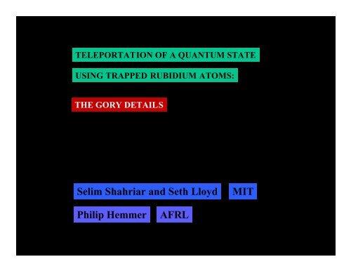 a trapped-atom quantum memory (PDF) - MIT