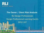 The Owner/Client Risk Analysis - RLI Design Professionals