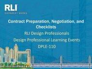 DPLE 110 — Contract Preparation, Negotiation, and Checklists